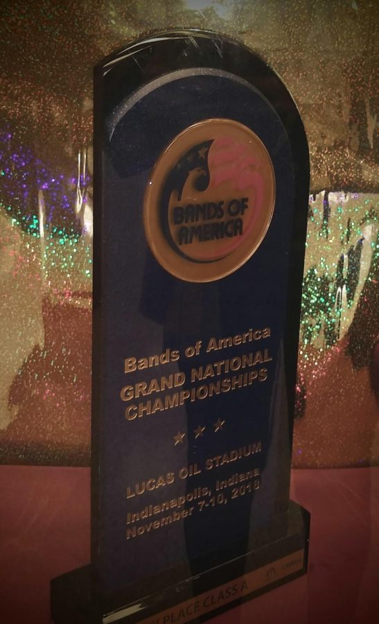 Bands of America Class A National Championship trophy awarded to Bourbon County High School Marching Band in 2018