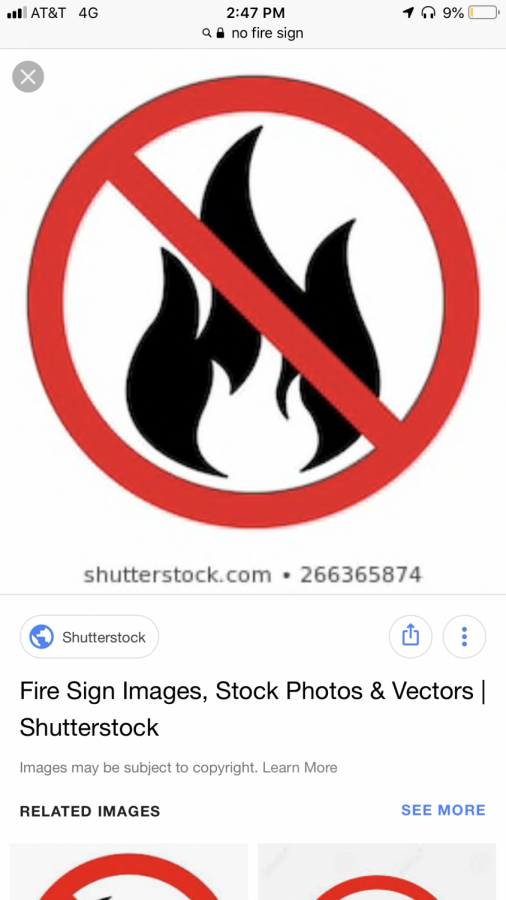 A+Fire+symbol+with+a+cross+over+showing+no+fire.+