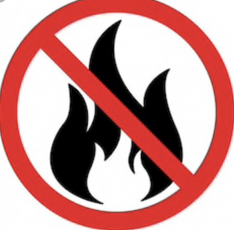 A Fire symbol with a cross over showing no fire.
