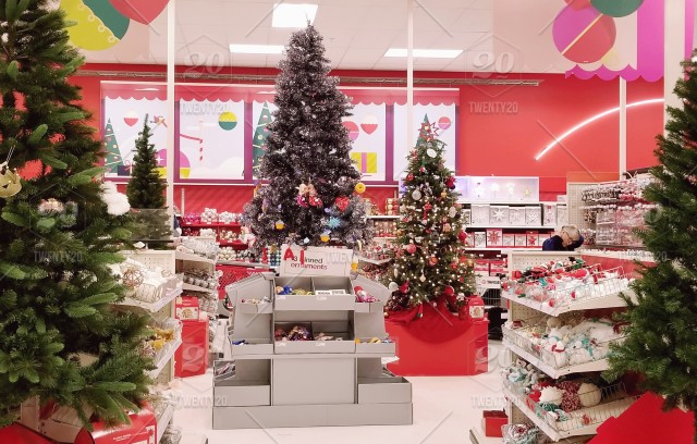 Christmas decorations in stores.