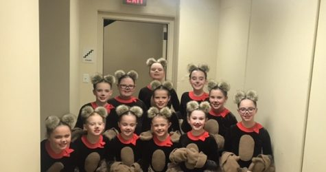"The youngest members of the company in their costumes for the dance  number ""Teddy Bear Picnic"""