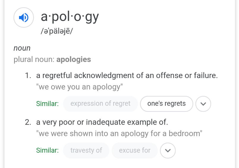 Definition of apology.