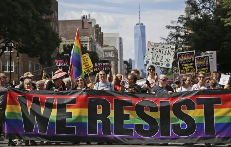 LGBTQ people protesting for gay rights.