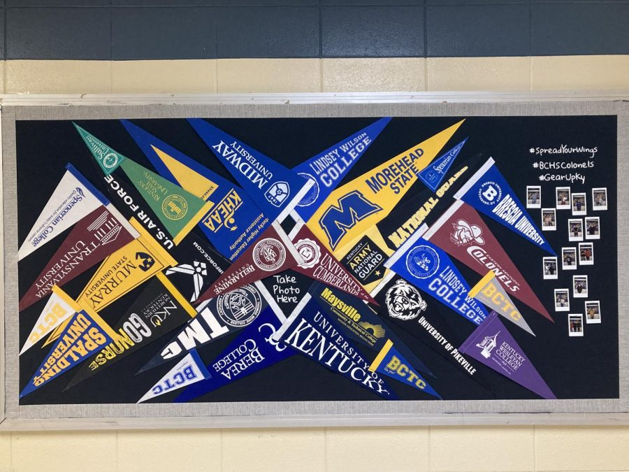 A bulletin board (between Ms.Getz and Ms.Leggetts classroom) of various colleges