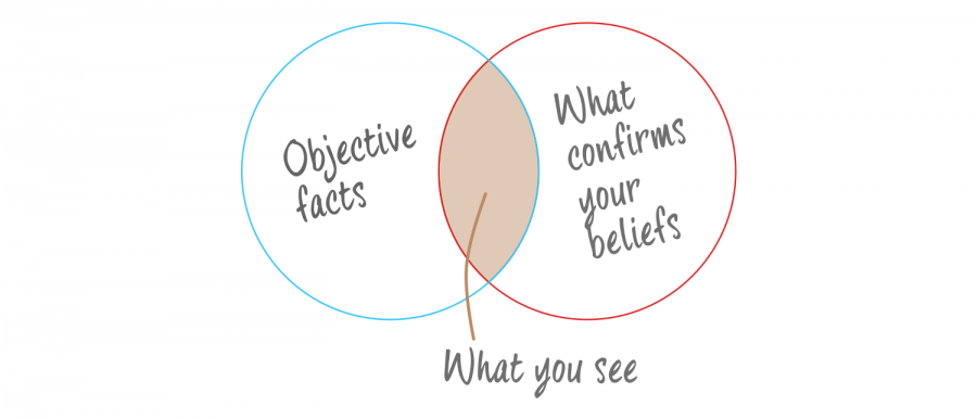 A diagram explaining the basis of confirmation bias in relation to facts and beliefs.