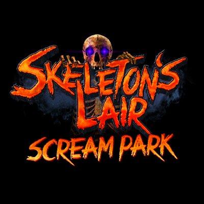 Skeleton lair scream park logo.